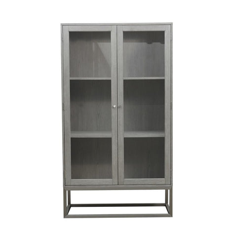 Pulaski Modern 2 Shelf Display Cabinet in Grey Oak