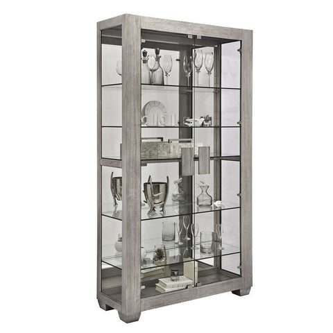 Pulaski Modern Lighted 5 Shelf Curio Cabinet in Ashwood Taupe