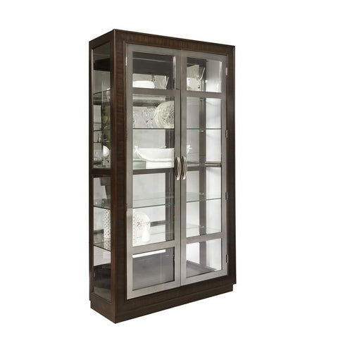 Pulaski Modern Nickel Framed Double Door Display Cabinet in Brown