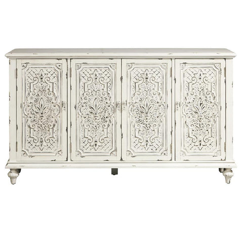 Pulaski Ornate Four Door White Credenza in White