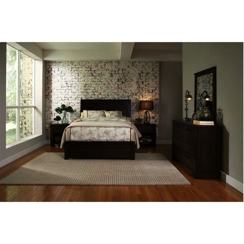 Pulaski Ruff Hewn 4 Piece Platform Bedroom Set in Brown