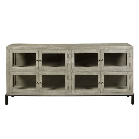 Pulaski Rustic Farmhouse 8 Door Display Console in Cerused Oak Brown