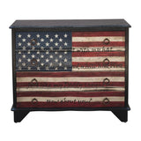 Pulaski Traditional Styled American Flag Four Drawer Accent Storage Chest w/Eric Church Lyrics in Black