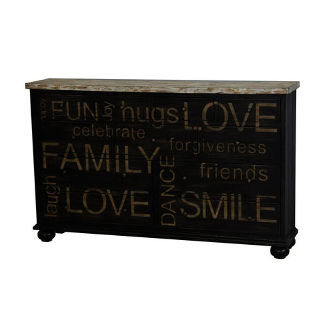 Pulaski Two Tone Words Drawer Credenza
