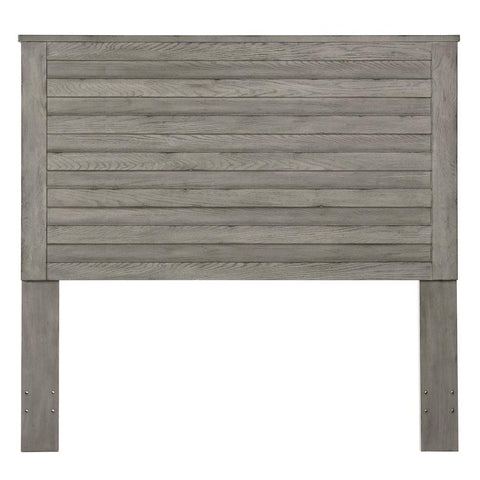 Pulaski Weathered Grey Horizontal Slat Overlay Queen Wood Headboard