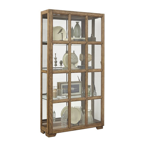Pulaski Windowpane Sliding Door Curio Cabinet in Hickory Brown