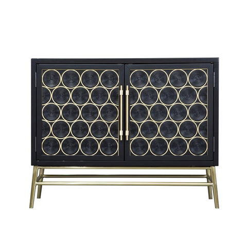Home Fare Wine Bottle Theme Two Door Console in Black