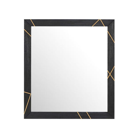 Pulaski Wood & Metal Inlay Dresser Mirror in Black and Gold