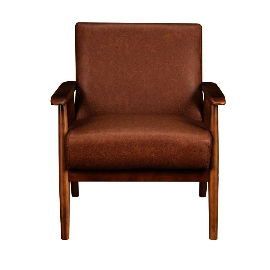 Pleasing Pulaski Wood Frame Faux Leather Accent Chair In Lummus Cognac Ibusinesslaw Wood Chair Design Ideas Ibusinesslaworg