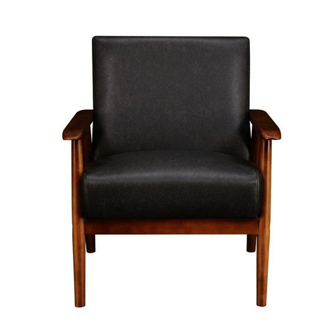 Pulaski Wood Frame Faux Leather Accent Chair in Lummus Steel