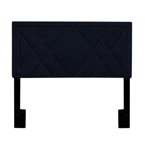Pulaski X-Patterned Nail Head Trim King Upholstered Headboard in Denim Darkwash