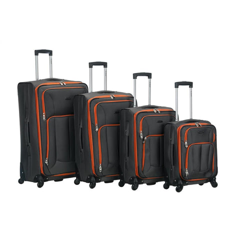 Rockland 4 Piece Impact Spinner Luggage Set In Charcoal