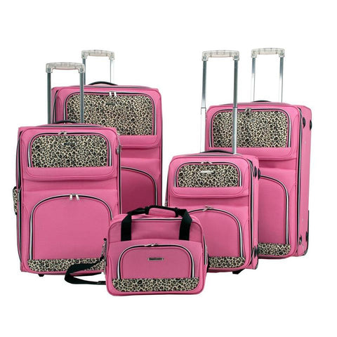 Rockland 5 Piece Luggage Set In Pink Leopard