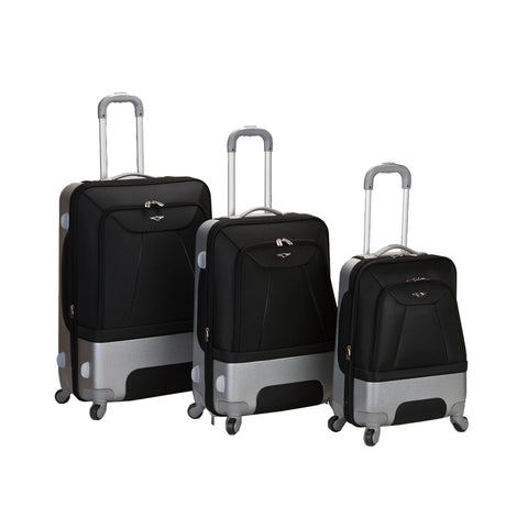 Rockland Black 3 Rome Piece Luggage Set