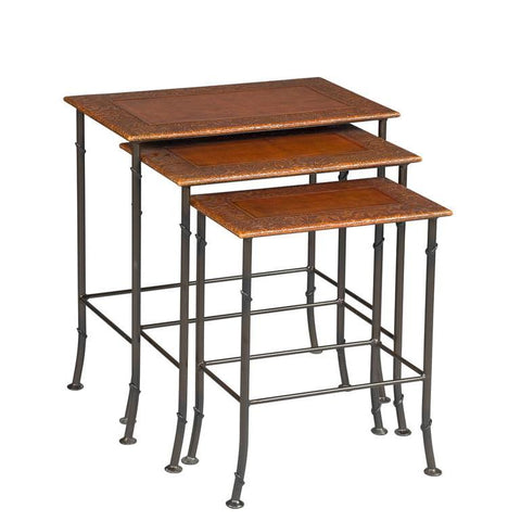 Sarreid Kew Gardens Leather Nesting Tables