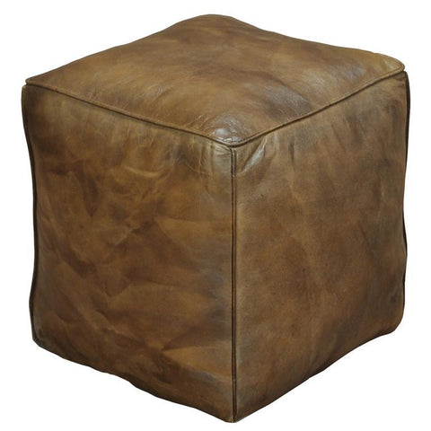 Sarreid Leather Cube Footrest