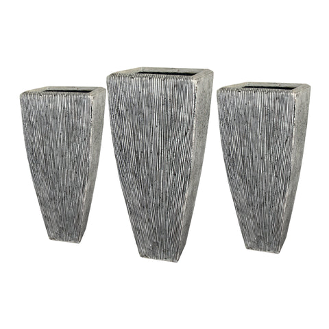 Screen Gems Sandstone Ribbed Long Square Planter Three Piece Set