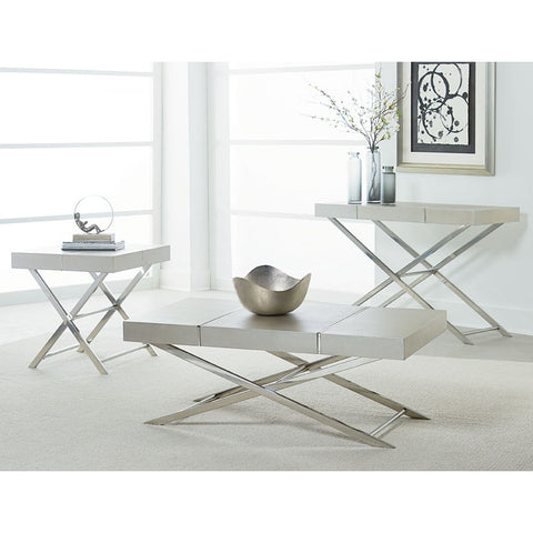 Standard Furniture Ava Silver 3 Piece Coffee Table Set in Silver
