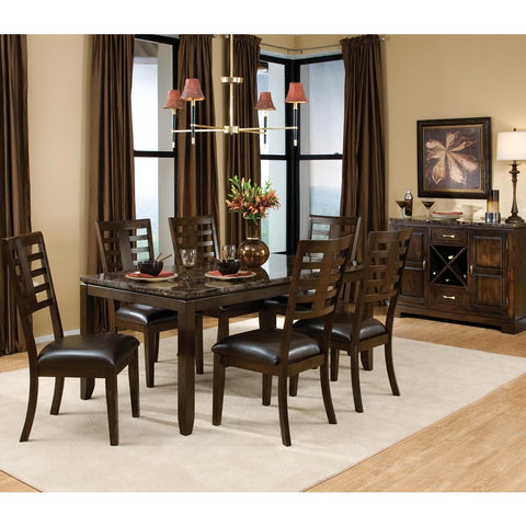 Standard Furniture Bella 8 Piece Dining Room Set w/ Faux Marble Top