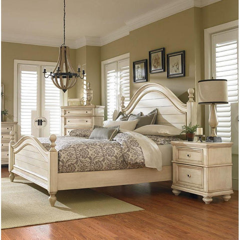Standard Furniture Bennington White 3 Piece Poster Bedroom Set in Antique French Bisque