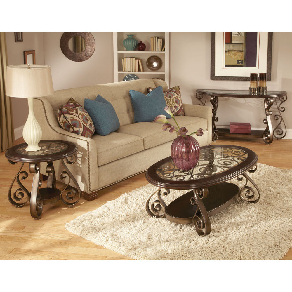 Standard furniture bombay 3 piece glass top coffee table set in burnished antique bronze
