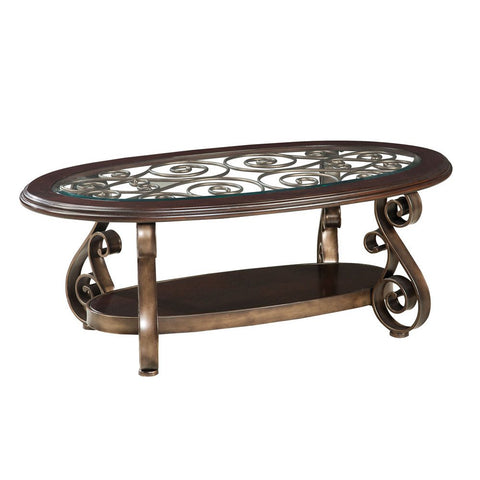 Standard Furniture Bombay Oval Glass Top Cocktail Table in Burnished Antique Bronze
