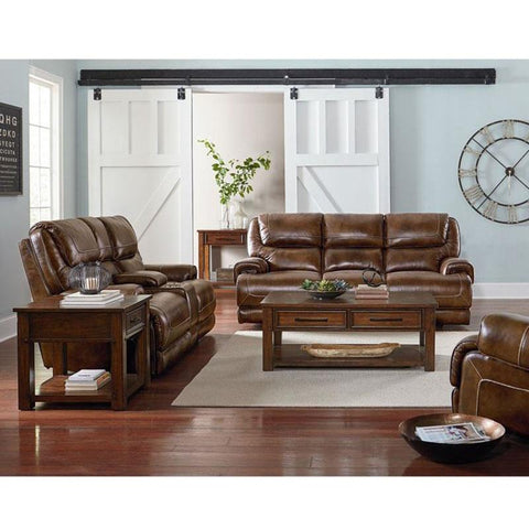 Standard Furniture Cameron 3 Piece Coffee Table Set in Tobacco Brown