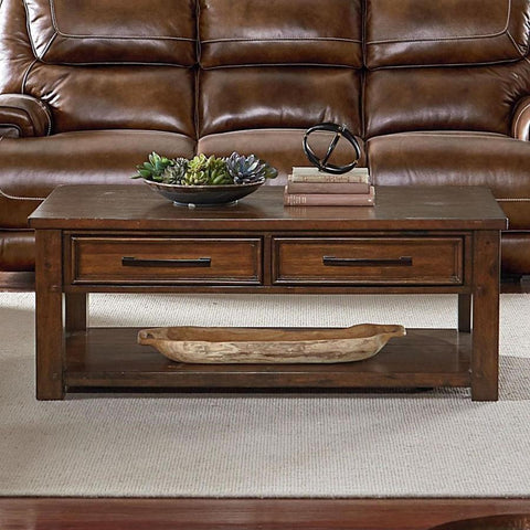 Standard Furniture Cameron Cocktail Table in Tobacco Brown