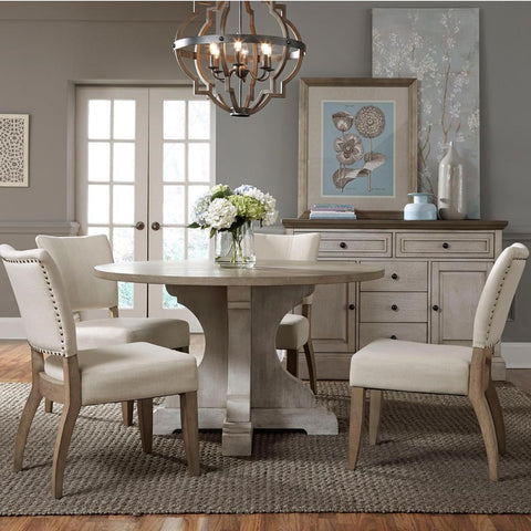 Standard Furniture Dakota 6 Piece Grey Round Pedestal Dining Room Set