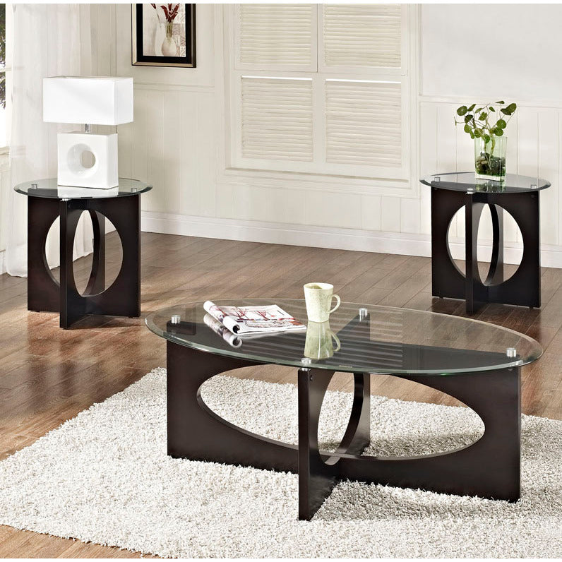 Standard Furniture Dania 3 Piece Oval Glass Top Coffee Table Set In