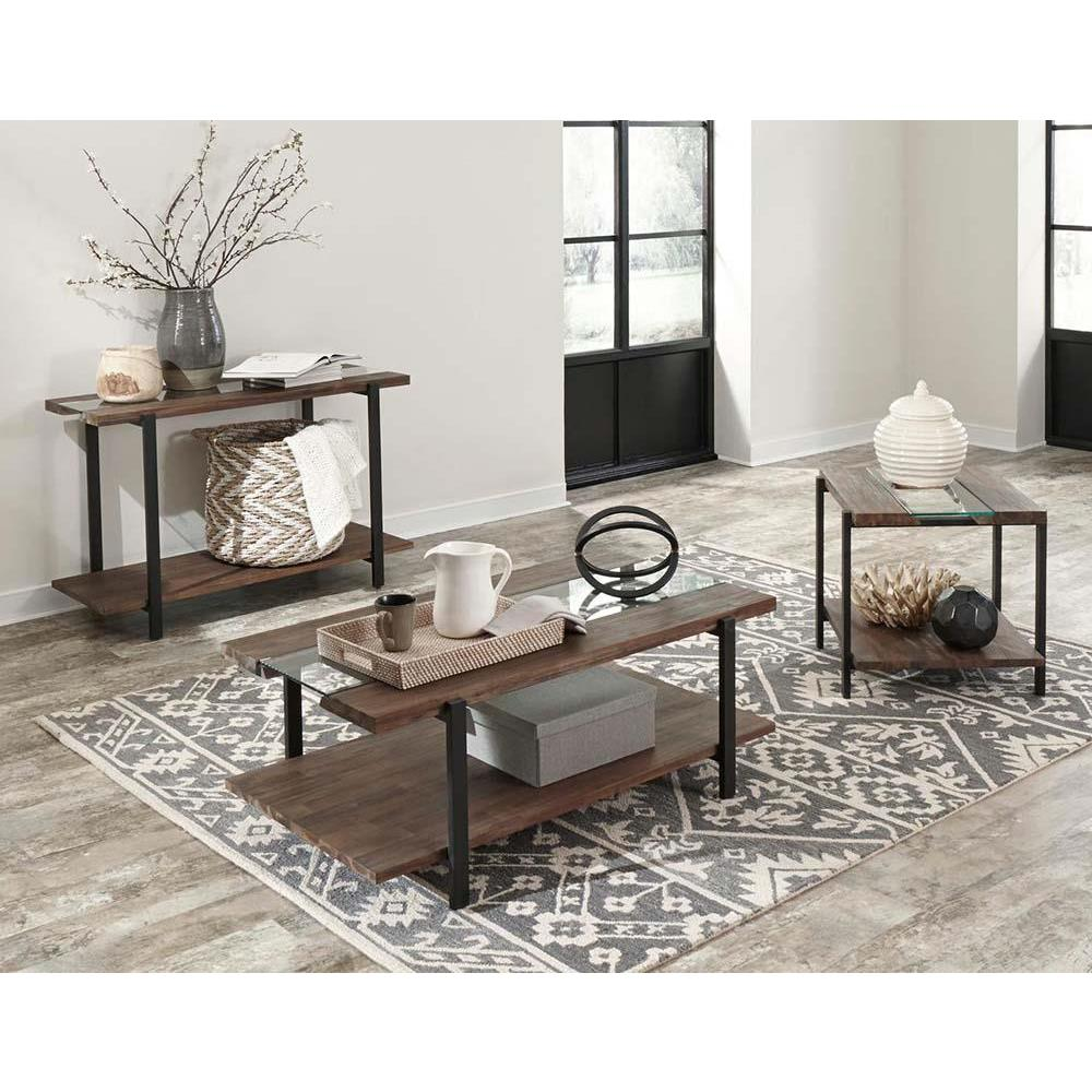 Standard Furniture Dumont 3 Piece Distressed Glass Coffee Table Set in Brown