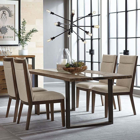 Standard Furniture Dumont 5 Piece Live Edge Glass Dining Room Set