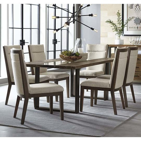 Standard Furniture Dumont 7 Piece Live Edge Glass Dining Room Set