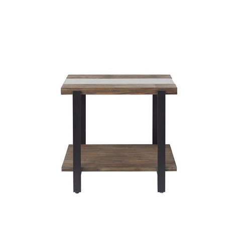 Standard Furniture Dumont Distressed Glass End Table in Brown