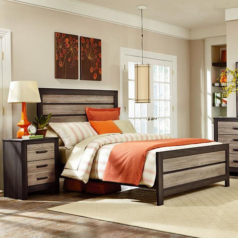 Standard Furniture Fremont 2 Piece Panel Bedroom Set in Dark & Smoky Weathered Oak
