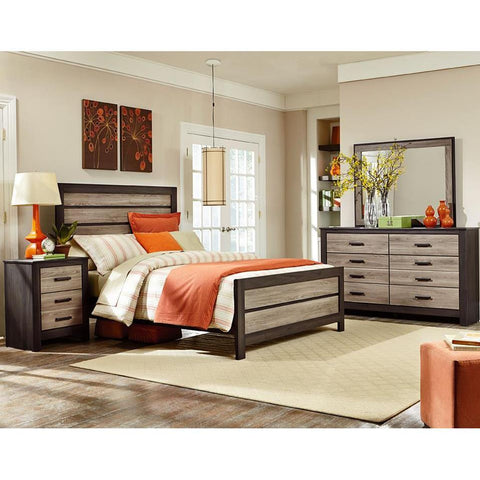 Standard Furniture Fremont 3 Piece Panel Bedroom Set in Dark & Smoky Weathered Oak