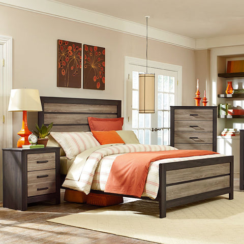 Standard Furniture Fremont 3 Piece Panel Bedroom Set w/Chest in Dark & Smoky Weathered Oak