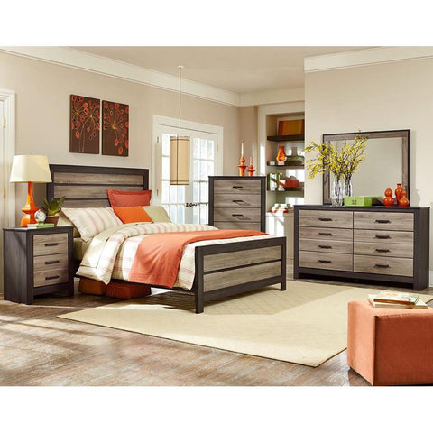 Standard Furniture Fremont 4 Piece Panel Bedroom Set in Dark & Smoky Weathered Oak