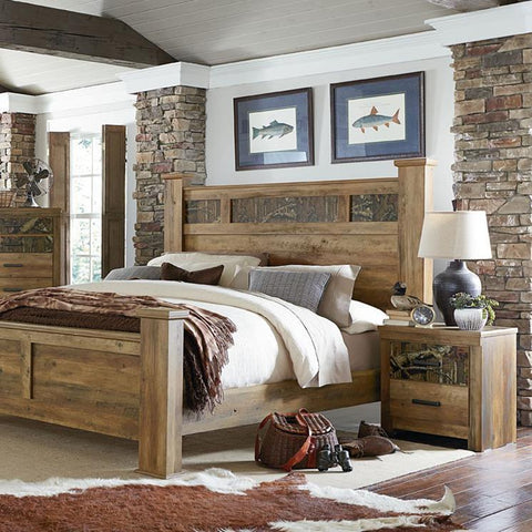 Standard Furniture Habitat 2 Piece Poster Bedroom Set in Buckskin Pine