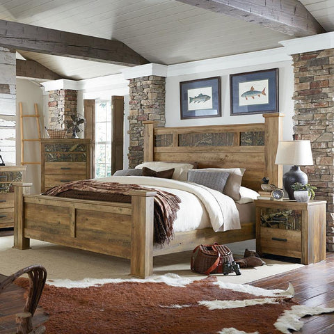 Standard Furniture Habitat 3 Piece Poster Bedroom Set in Buckskin Pine