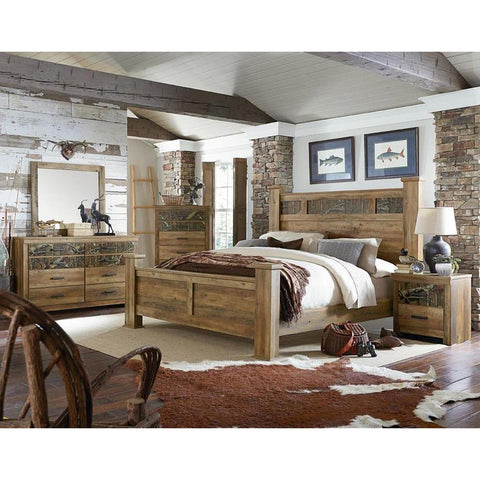 Standard Furniture Habitat 4 Piece Poster Bedroom Set in Buckskin Pine