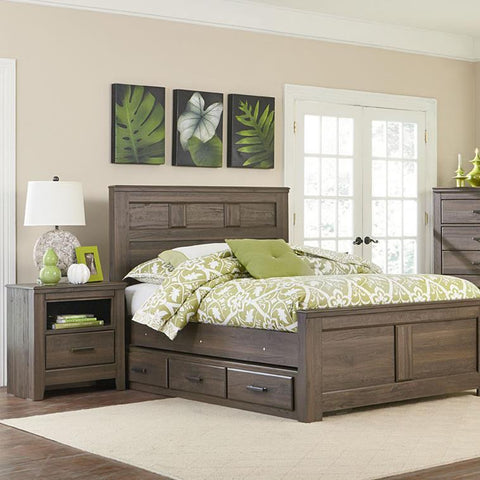 Standard Furniture Hayward 2 Piece Panel Bedroom Set in Dark Brown Weathered
