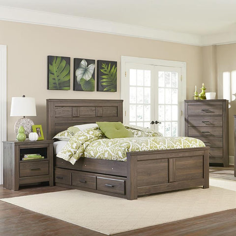 Standard Furniture Hayward 3 Piece Panel Bedroom Set in Dark Brown Weathered