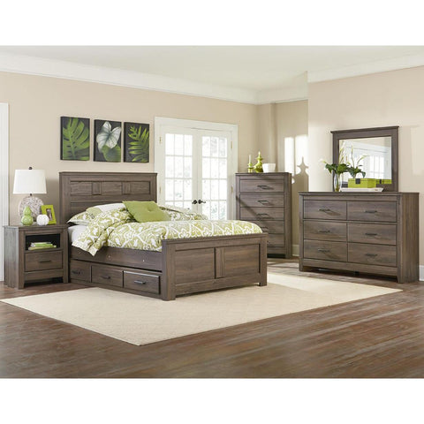 Standard Furniture Hayward 4 Piece Panel Bedroom Set in Dark Brown Weathered