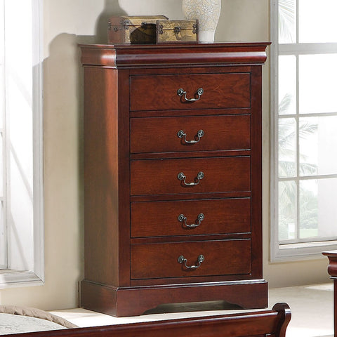 Standard Furniture Lewiston 5 Drawer Chest in Deep Brown