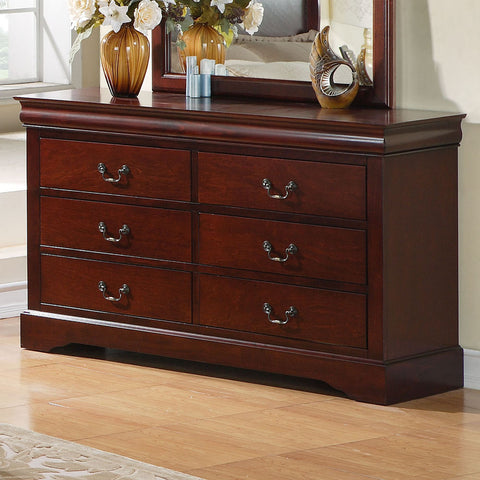 Standard Furniture Lewiston 6 Drawer Dresser in Deep Brown