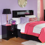 Standard Furniture Marilyn Black Headboard w/ Mirrored Inset in Glossy Black