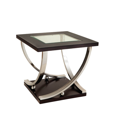 Standard Furniture Melrose Square Glass Top End Table in Rich Dark Merlot