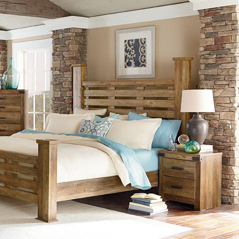 Standard Furniture Montana 2 Piece Poster Bedroom Set in Pine