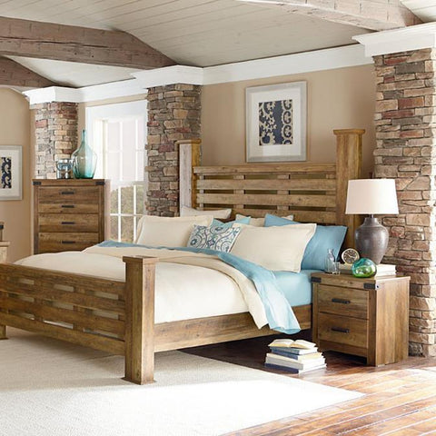 Standard Furniture Montana 3 Piece Poster Bedroom Set in Pine